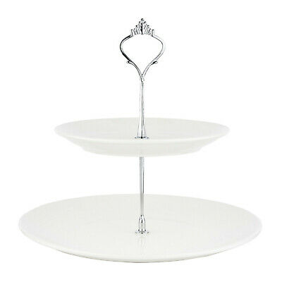 2 Tier Ceramic Cake Stand Afternoon Tea White Two Tier Wedding Tableware Display