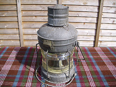 "Vintage Large Galvanised Ships Lantern Lamp with Burner 20"" High 11"" Diameter"