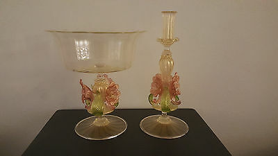 Murano Venetian Salviati Glass Compote and Candleholder Gold Floral Stem Signed