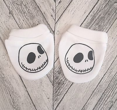 Nightmare Before Christmas Jack Skellington Face .Baby Scratch Mitts/mittens