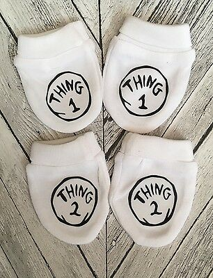 Thing 1 And Thing 2 Baby Scratch Mitts/mittens.Twins Baby Gift