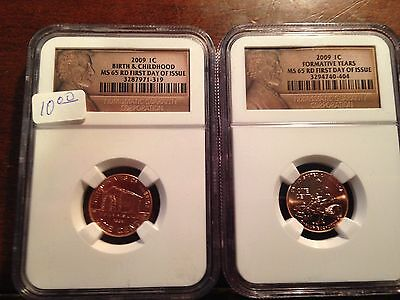 2009 Lincoln Cent Ms65 Ngc First Day Of Issue Lot Of 2 Birth And Formative