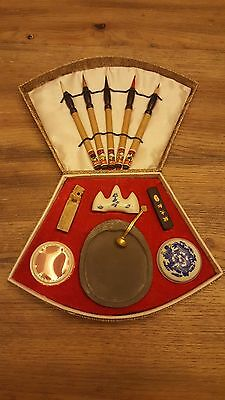 Vintage Chinese Calligraphy Set W/ Decorative Case Pens Inkwell Marble Unused