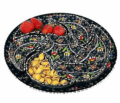 Turkish Ceramic Appetizer Dishes Hand Painted - Black (Set of 8)
