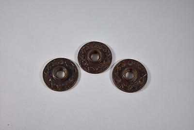 Set Of Three Antique Round Eastlake Brass Key Hole Cover Plate Escutcheon