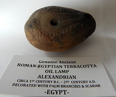 Ancient Roman Egyptian Terracotta Oil Lamp 1st Century BC - 2nd Century AD
