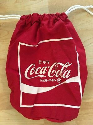RED COCA-COLA TOTE BAG COTTON CANVAS NYLON DRAW STRING Vintage
