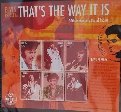 Thats The Way It Is Elvis Presley 30th Anniversary Liberia Miniature Stamp Sheet