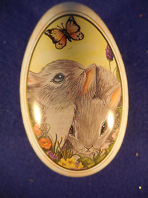 """Tin Easter Egg Container 5 1/4"""" Bunnies Design On Top"""