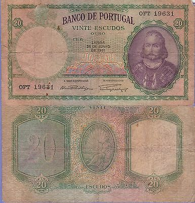 Portugal 20 Escudos Banknote,26.6.1951 Very Good Condition Cat#153-A