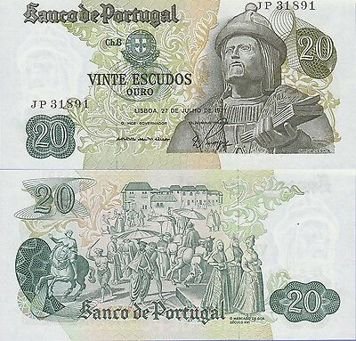 Portugal 20 Escudos Banknote,27.7.1971 Uncirculated Condition Cat#173