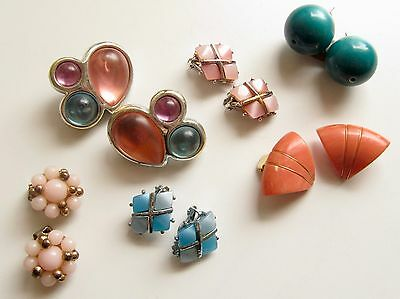 Vintage Plastic Thermoset Moonglow Clip On Earrings Lot of 6 Pair 1950s 60s Vtg
