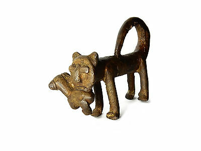 Rare African Antique Cast Bronze Akan Ashanti Gold Weight Leopard with antelope