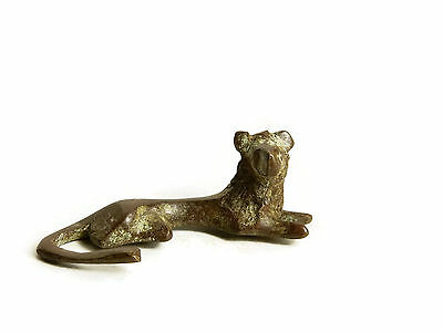 Rare African Antique Cast Bronze Akan Ashanti Gold Weight - a resting lion
