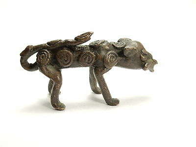 Rare Antique African Bronze Ashanti Gold Weight a spotted leopard