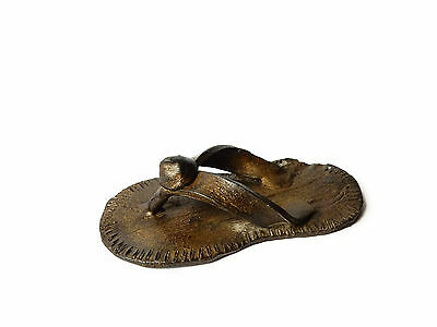 Rare Antique African Bronze Ashanti Gold Weight - a sandal (Book piece)