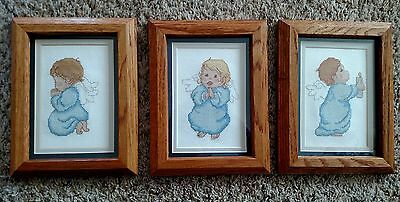 Needlepoint Baby Angel Cherub Blue Wings Framed Picture Faith Charity Hope
