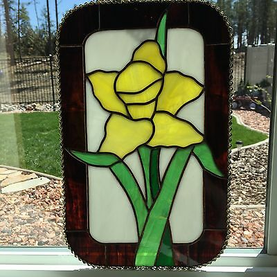 "Daffodils Stained Glass Panel, approx 13 1/2"" x 8 1/2"""