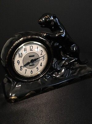 Antique Snider 8 Day Panther Working Mantle Clock / Slightly Damaged