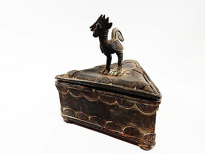 African Tribal Rare Antique Akan Ashanti Cast Bronze Gold Sand Box 5