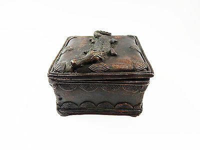 African Tribal Rare Antique Akan Ashanti Cast Bronze Gold Sand Box 16