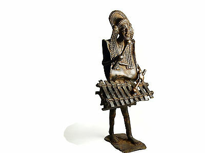 Rare Antique African Tribal Cast Bronze Burkina Faso sculpture men with Balafon