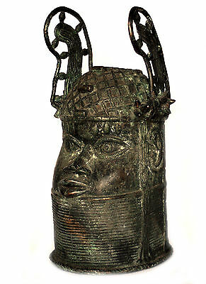 Antique Authentic African Tribal Benin Memorial Bronze Head of King Oba