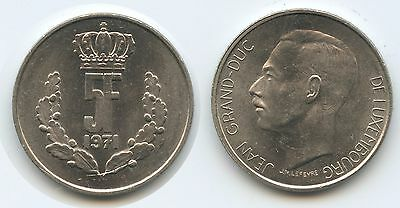 G7708 - Luxemburg 5 Francs 1971 KM#56 Jean Grand Duc Luxembourg