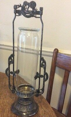 Antique Victorian Glass Silver Plate Reed Barton Pickle Castor Candle Holder