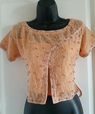 Stunning Peach/orange Crop Top/choli. Multi Sequin And Lace Up Back Size Xs/s