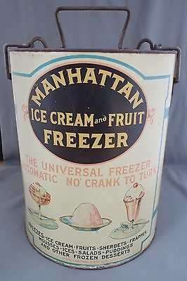 Vintage Antique Advertising Tin Manhattan Ice Cream And Fruit Freezer Maker New