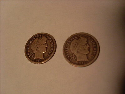 Barber Dimes 1914 & 1916 Very Good Condition