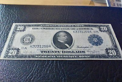 1914  Twenty Dollar Federal. Reserve Note fr. 1005 Dallas Rare Less than 20