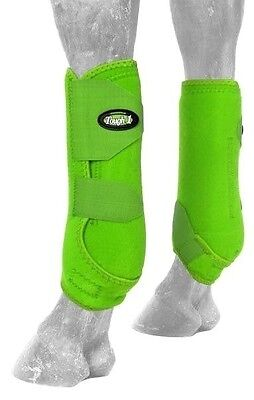 Tough-1 Lime Extreme Vented Neoprene Size Medium Rear Sport Boots Horse Tack