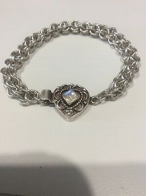 Sterling Silver And Moonstone Chunky Heart Padlock Bracelet