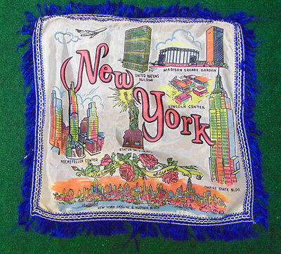 Fringed Pillow Cover Souvenir New York City Empire State Bldg Statue Liberty