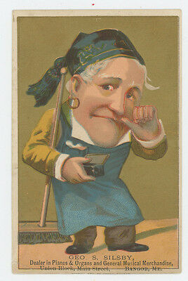 George Silsby Piano Dealer Bangor ME 1880's Trade Card