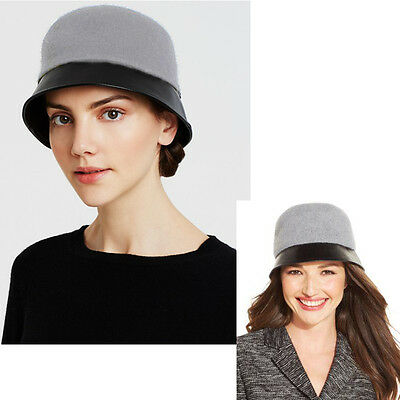 New AUGUST Mixology Wool Cloche Faux Leather Brim Stylish Women's Hat Gray Black
