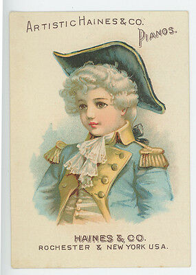 Haines Pianos Young Sailor Girl Grinnell Brothers Adrian MI Trade Card