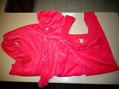 Juicy Couture Women's Velour Hoodie Tracksuit Sweatsuit Size M - EUC PINK