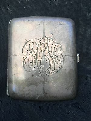 Vintage Antique Sterling Silver Cigarette Case with Gold wash interior