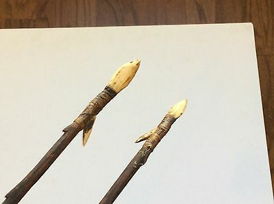 Nice Old Antique Pair Very Long Bone Tipped Tribal Amazon South American Arrow