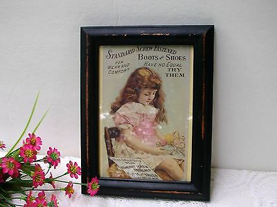 Vintage Standard Screw Fastened Boots Shoes Girl Ad Reproduction Framed - Shabby
