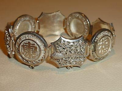 Vintage Chinese Export Sterling Silver Four Seasons Bracelet