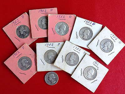 Mixed lot of 10 Washington quarters 1950, 1952, 1962 • 90% Silver