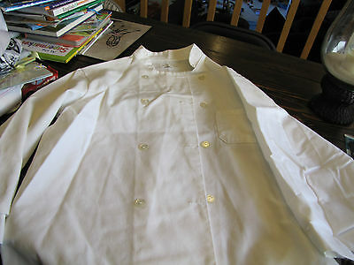 White Cotton/poly Double Breasted Chef's Coat Sz 46 / Pocket