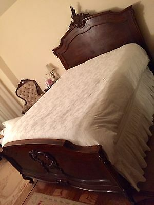 Rare , Authentic Antique French Louis XV Queen  Bed Frame Solid Wood Hand Carved