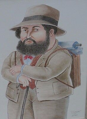 Fernando Botero Colored Pencil Drawing      Cezanne   Signed   Framed  Dedicated
