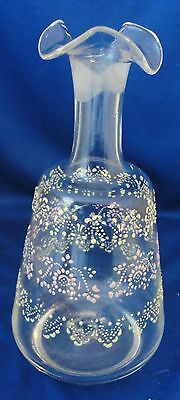 Vintage Blown Glass Decanter with Enamel Design