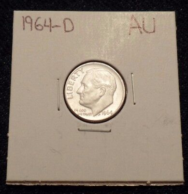 #46 About Uncirculated Roosevelt Silver Dime 1964 D